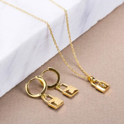 bee-light-made-italy-necklaces-love-earrings-padlock-woman-gold-yellow-